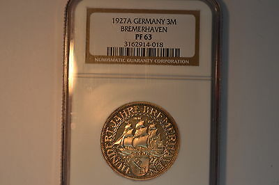 Germany: Weimar Republic.  1927-A 3 Mark- NGC PF-63.  A lovely coin.