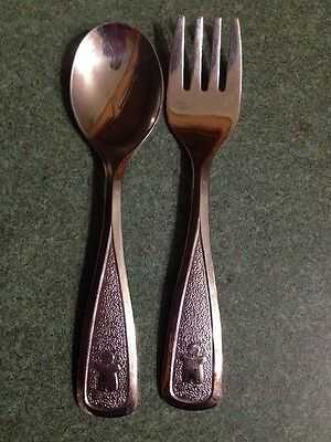 Vintage Avon Baby Toddler Youth Spoon & Fork Set-1980  The First years Stainless