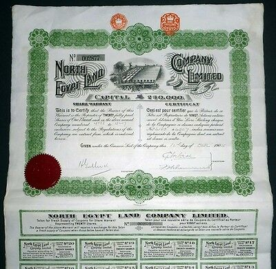 1905 The North Egypt Land Company - Share Warrant to Bearer