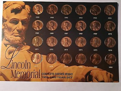 Lincoln Memorial Complete Copper Penny Set (1959-1982)