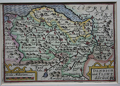 Original antique map WALES DENBIGH FLINT 'miniature Speed' Van der Keere 1627-76