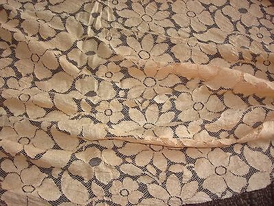 "Vintage 1930-40 Apricot Coral Silky Lace 36"" by 35"" Nice Condition More Availabe"