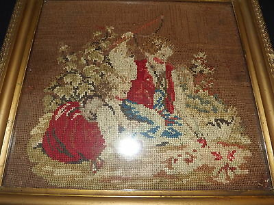 Antique Framed Needlepoint 13X12 Santa?? 19Th Century??