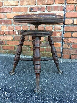 Vintage Antique Claw Foot Adjustable Seat Height Wood Piano Stool