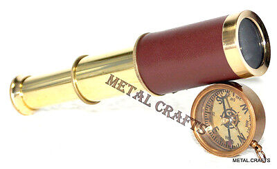 Vintage Brass Telescope Leather 6 Inch With Antique Brass Compass Locket Gift