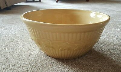 Vintage USA Western Stoneware Yellow Mixing Serving Bowl Ivy Design Monmouth