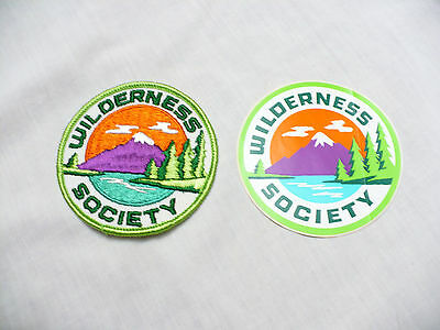 VINTAGE WILDERNESS SOCIETY Set of 2 SEW ON PATCH and STICKER 3""