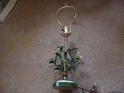 Vintage Italian Shabby Metal Tole Toleware Floral Lamp Boudoir Dainty