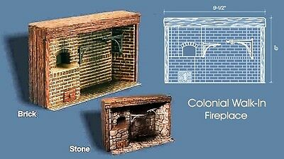 Braxton Payne Colonial STONE Walk In Fireplace 1:12 Scale - Signed - New