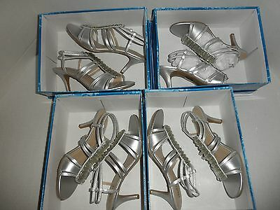 NIB WHOLESALE LOT 4 Pair Silver Metallic Prom,Wedding, Women's Heel Sandal  Shoe
