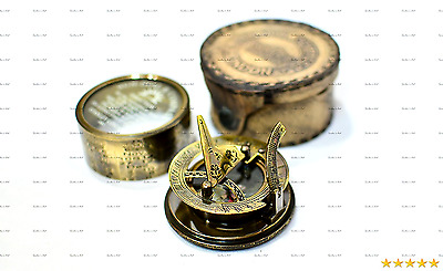 """Sailor's Art Antique Brass Drum Sundial Compass With Leather Case 2.5"""""""