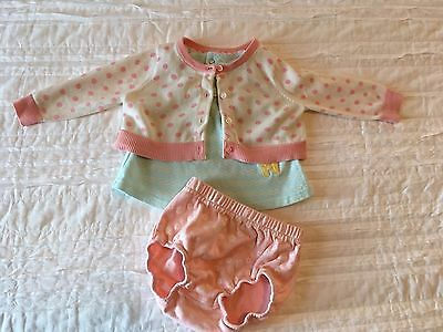 Girls Baby Gap Cardigan Sweater Chick Pea Top Bloomer Set 3-6 months Summer
