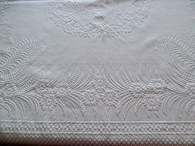 Antique White Fern & Floral Marseille Matelasse Bedspread~1800s Coverlet Spread