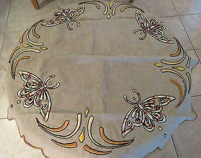 "Antique Tablecloth Embroidered 32"" Arts and Crafts Deco Butterfly Table Cover"