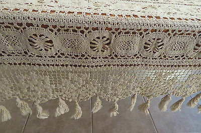 """Antique Lace Bed Cover Coverlet 79"""" x 59"""" Window Curtain Panel Ecru"""