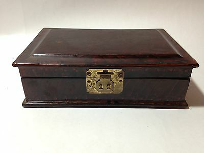 Vintage Chinese Asian Wood Jewelry Box with Lacquered Floral Design