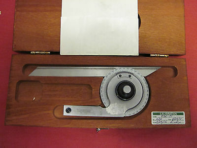 Starett #c359 360 Degree Bevel Protractor In Fitted Wooden Box With Instructions