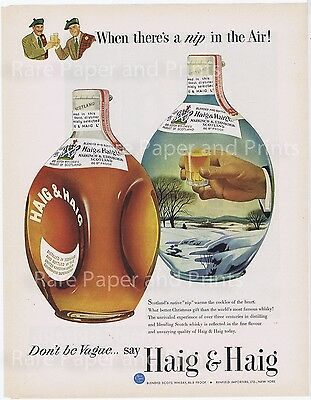 Haig & Haig Scotch Whisky Great Old Illustrated Nip In The Air Original 1951 AD