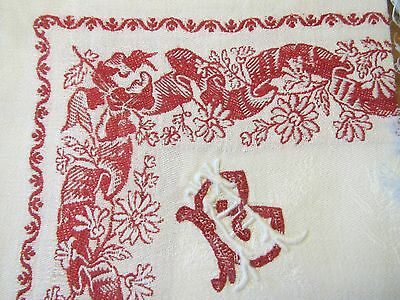 Antique French Napkins Linen White Red Damask Border B A Monogram Set of 12