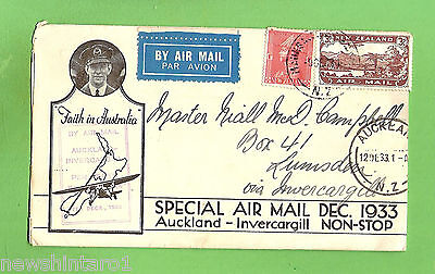 #D294. 1933  Air Mail Envelope, Auckland To Invercargill, New Zealand