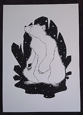 Art Print Screen Printed Bear Illustration Black and White Art Limited Edition