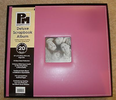 "12x12"" PAPERMANIA Pink Deluxe Leather Scrapbook Memory Photo Album Crafting"