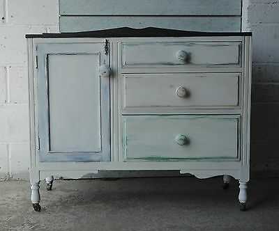 Antique Victorian Pine Shabby Chic Painted Sideboard Cupboard & Drawers