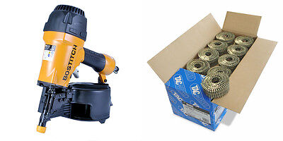 Bostitch N66C-2-E Air Coil Nailer + 64mm Galvanised Ring Coil Nails (9,000)