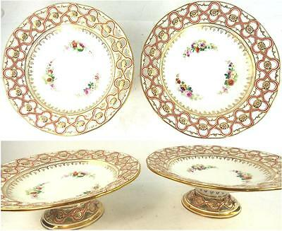 Pair Antique English Porcelain Tazza Compote Pierced Reticulated Flowers Minton