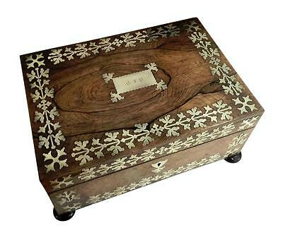 ANTIQUE REGENCY ROSEWOOD & BRASS INLAY SEWING BOX c1815