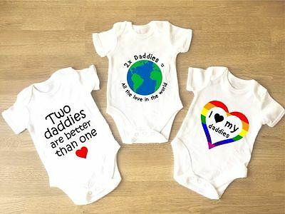 I Love My Daddies Baby Grows PACK OF 3 Gay Parents Pride Heart LGBT Two Dads