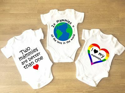 I Love My Mammies Baby Grow PACK OF 3 Gay Pride Lesbian Parents Two Mams LGBT