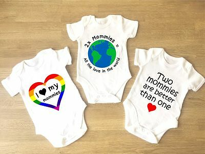 I Love My Mommies Baby Grow PACK OF 3 Gay Pride Lesbian Parents Two Moms LGBT