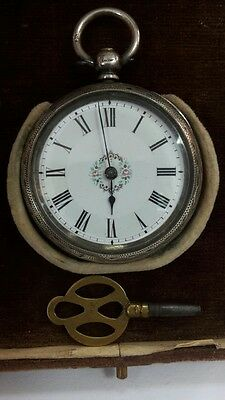 RR Beautiful collectible British Swiss silver pocket watch with a box 19th cen.
