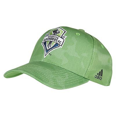 adidas Mens Football Seattle Sounders Stuctured Adjustable Cap Hat - Green