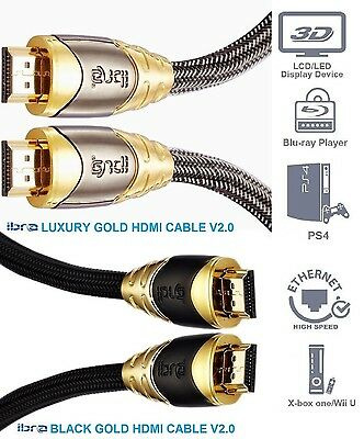 NEW Premium HDMI Cable v2.0 Gold High Speed HDTV UltraHD HD 2160p 4K 3D 1M - 10M