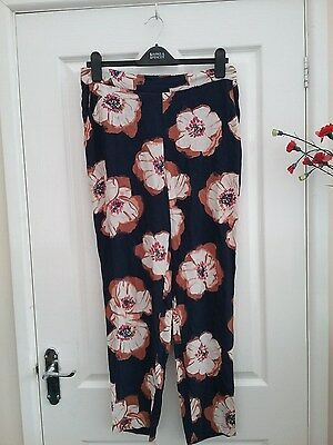 M & S Womens Black Mix Floral Lightweight Trousers Size 12 New