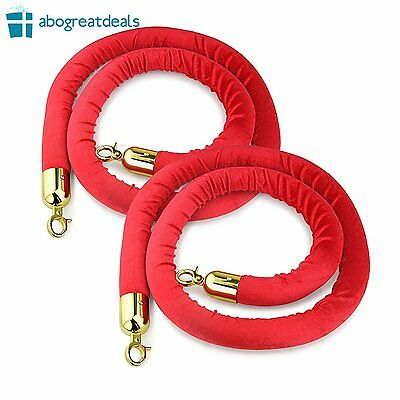 """NEW Red Rope Stanchion Set of 2 79.5"""" Plush Velvet Gold Color Brass Plated Hook"""