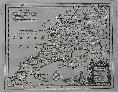Original antique map, WALES, CARNARVANSHIRE, BANGOR, MENAI, Thomas Kitchin, 1769