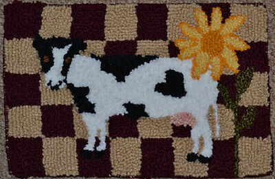 "Handmade Antique Rug Hooking CHECKERED BOARD, COW & SUNFLOWER 8 1/4"" x 12 1/4"""