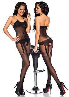 Sexy Neckholder Catsuit Lingerie-Look Bodystocking Straps Body Stocking Stretch
