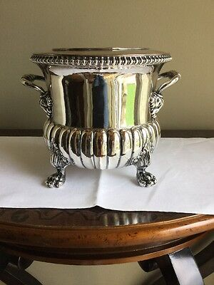 Antique Silver plated Footed And Heavy Wine Or Champagne  Cooler Bucket