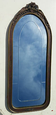 XLNT Antique Vtg Art Deco Polychrome Arched Top Beveled Etched Wall Hall Mirror