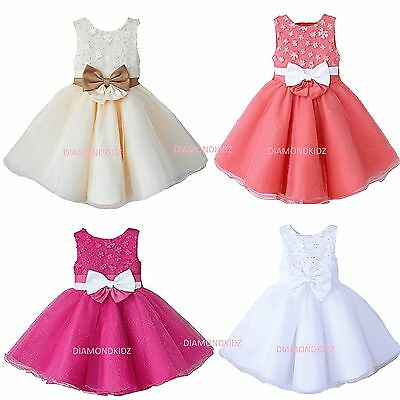 Baby Girls Dress Wedding Flower Girl Communion Party Princess Dress STUNNING