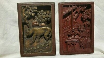 Antique Chinese Carved Wall Plaques