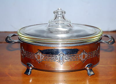 Vintage Pyrex Casserole With Metal Serving Tray