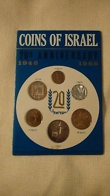 Uncirculated 1968 Israel 20th Anniversary Coins Of Israel Set with brochure