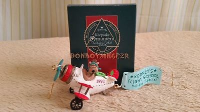 Hallmark 1992 Rodney Takes Flight Club Reindeer Plane Christmas Ornament