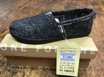 Toms Size Youth Stitchout Black Tweed Kids Shoes New NIB!