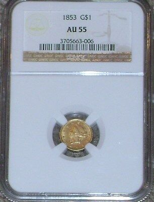 1853 $1.00 Gold Princess Head NGC AU55